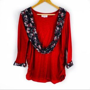 🌷 ELLE Womens Large Red Blouse with Scarf